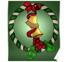 Bells and Holly Wreath Poster