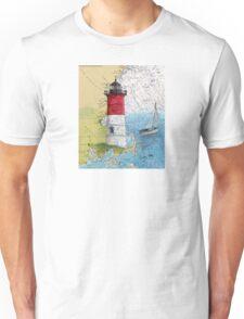 Nauset Beach Lighthouse MA Cape Cod Map Cathy Peek Unisex T-Shirt