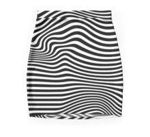 Wavy Black & White Abstract Mini Skirt