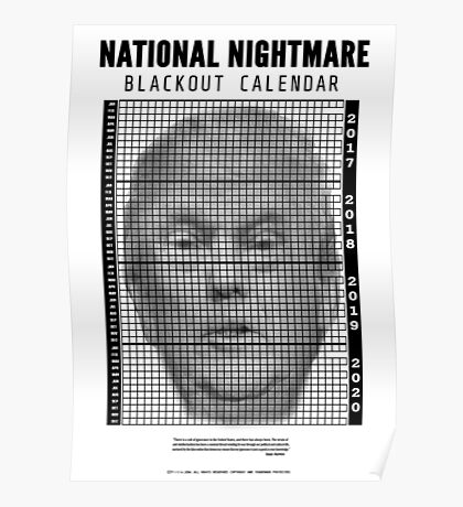 Donald Trump Four Year Blackout Calendar  Poster
