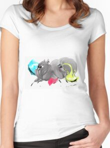 CMYK Ink Brush Fox Women's Fitted Scoop T-Shirt