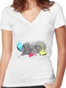 CMYK Ink Brush Fox Women's Fitted V-Neck T-Shirt
