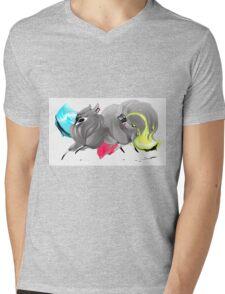 CMYK Ink Brush Fox Mens V-Neck T-Shirt