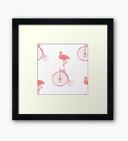 Pink Flamingo Retro Bicycle Framed Print