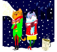 Cats Carolling Photographic Print