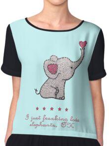I just freaking love elephants Chiffon Top