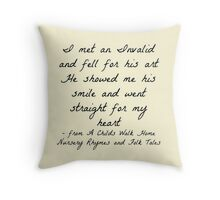 """I met an Invalid and fell for his art"" - Delirium Trilogy Throw Pillow"
