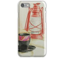 Still life with red oil lamp iPhone Case/Skin