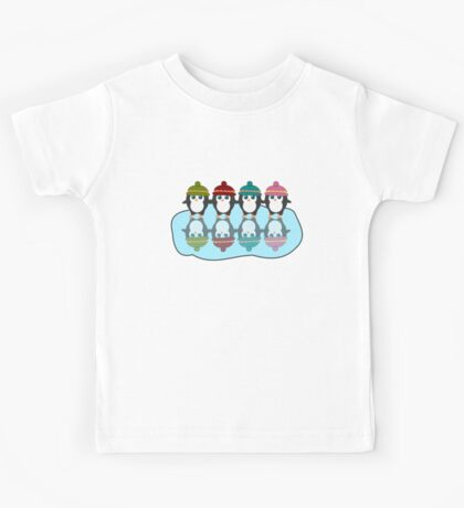 Cute  penguins with colorful little beanies Kids Tee