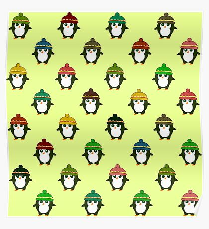 Cute  penguins with colorful little beanies Poster
