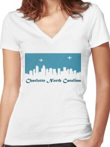 Charlotte North Carolina NC Women's Fitted V-Neck T-Shirt