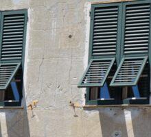 Italian building facade with green shutters Sticker