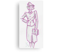 Vintage 1940's Woman illustration - I knew he'd be late Canvas Print