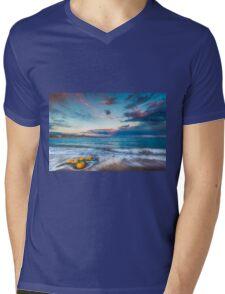 Buoys on the beach at sunset Mens V-Neck T-Shirt