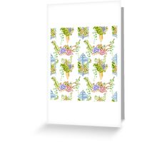 cactus and succulents, watercolor floral semless pattern Greeting Card