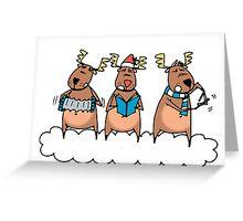 Reindeer singing Christmas carols Greeting Card