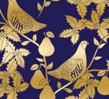 Partridge in a pear tree Christmas gold foil pattern Sticker