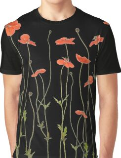 Poppies against black background Graphic T-Shirt