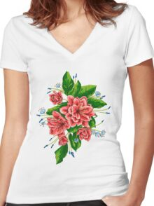 red bunch of flowers Women's Fitted V-Neck T-Shirt