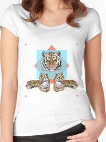 3Tigerz on Blue & Red Women's Fitted Scoop T-Shirt