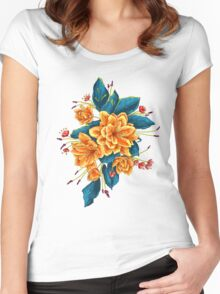 bunch of flowers with blue leaves Women's Fitted Scoop T-Shirt