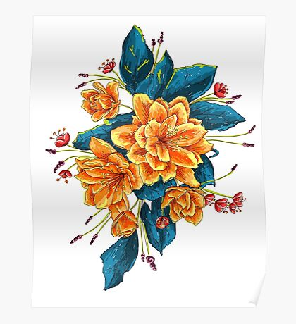 bunch of flowers with blue leaves Poster