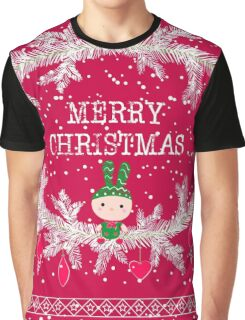 Merry christmas and happy new year greeting card wreath with cute toy bunny background Graphic T-Shirt