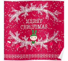 Merry christmas and happy new year greeting card wreath with cute toy bunny background Poster