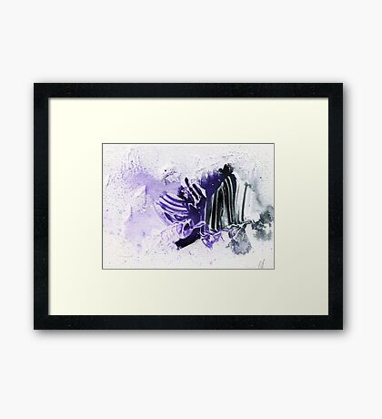 Purple and black abstract  Framed Print