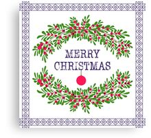 Merry christmas and happy new year greeting card wreath light white background Canvas Print