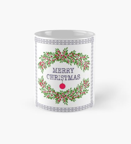 Merry christmas and happy new year greeting card wreath light white background Mug