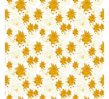 pattern with gold, yellow flowers Photographic Print