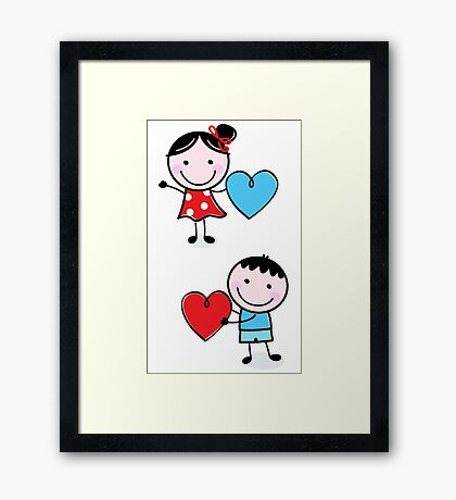 New Kids fairytale : Kids with hearts. Red blue Framed Print