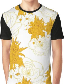pattern with gold, yellow flowers_2 Graphic T-Shirt