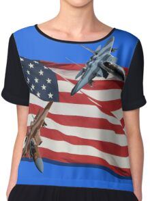 Patriotic Eagles Chiffon Top