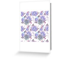 purple cacti and succulents, watercolor floral semless pattern Greeting Card