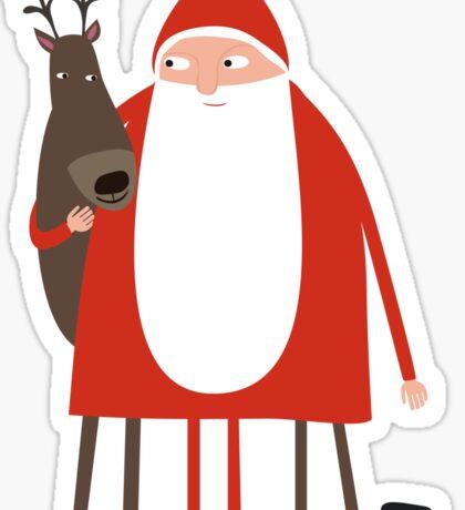 Weihnachtsmann mit Rentier Sticker