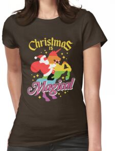 Christmas Is Magical Santa Claus Riding Unicorn Design Womens Fitted T-Shirt