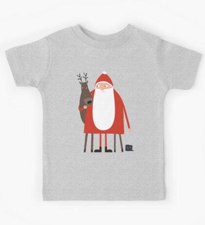Weihnachtsmann mit Rentier Kids Tee