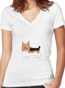 Corgi Women's Fitted V-Neck T-Shirt