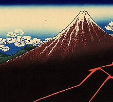 'Lightning Below the Summit' by Katsushika Hokusai (Reproduction) by Roz Abellera Art Gallery