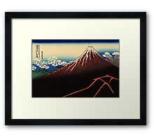 'Lightning Below the Summit' by Katsushika Hokusai (Reproduction) Framed Print