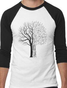 Digital tree black, Forest theme Men's Baseball ¾ T-Shirt