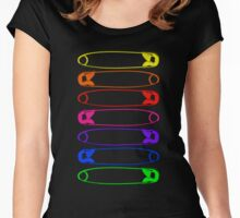 Rainbow Safety Pins Unity Women's Fitted Scoop T-Shirt