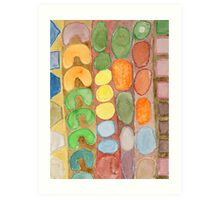 Striped Colorful Pattern with Croissants  Art Print