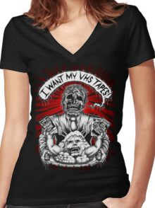 Say You Love Satan 80s Horror Podcast - Creepshow Basketcase VHS Women's Fitted V-Neck T-Shirt