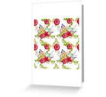 Red watercolor flowers seamless pattern, floral print Greeting Card