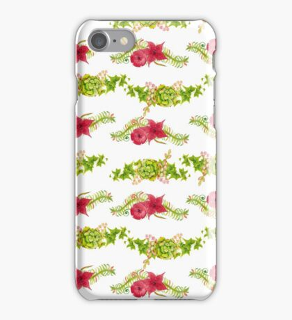 Red watercolor flowers seamless pattern, floral print iPhone Case/Skin