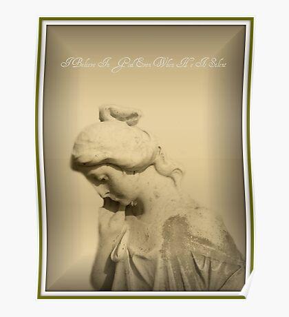 Praying Woman Statue Poster