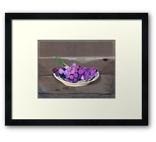 Grapes on Plank Table Framed Print